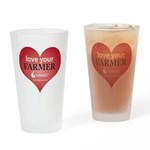 """""""Love Your Farmer"""" Drinking Glass"""
