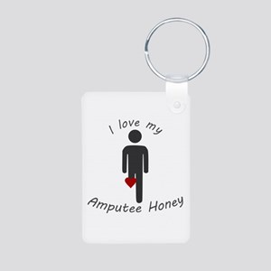 I Love my Amputee Honey Aluminum Photo Keychain