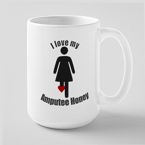 I Love my Amputee Honey Large Mug