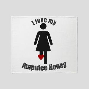 I Love my Amputee Honey Throw Blanket