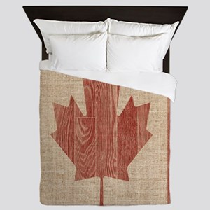 Canadian Flag Wood Print Queen Duvet Cover Queen D