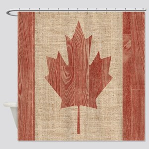 Canadian Flag Wood Print Queen Duvet Cover Shower