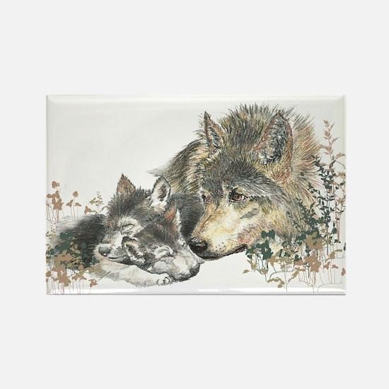 Watercolor Wolf Parent Cubs Rectangle Magnet