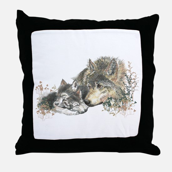 Watercolor Wolf Parent Cubs Throw Pillow
