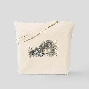 Watercolor Wolf Parent Cubs Tote Bag
