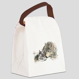 Watercolor Wolf Parent Cubs Canvas Lunch Bag
