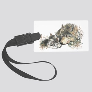 Watercolor Wolf Parent Cubs Large Luggage Tag