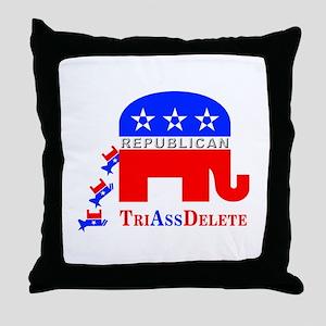 Republican Innuendo: TriAssDelete Throw Pillow