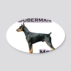 DobermanblackMom4 Oval Car Magnet