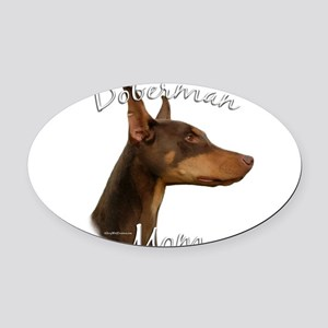 DobermanRedMom Oval Car Magnet