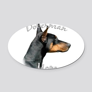 DobermanblackMom Oval Car Magnet