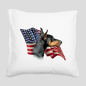 DobermanFlag Square Canvas Pillow