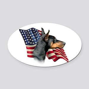 DobermanFlag Oval Car Magnet