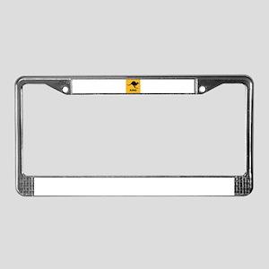 Kangaroo Crossing Black and Yellow License Plate F