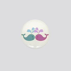 Two Cute Blue and Pink Whales Mini Button