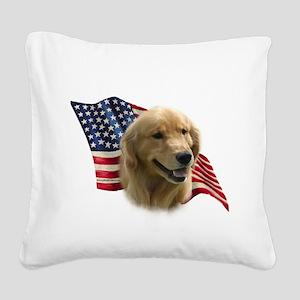 GoldenFlag Square Canvas Pillow