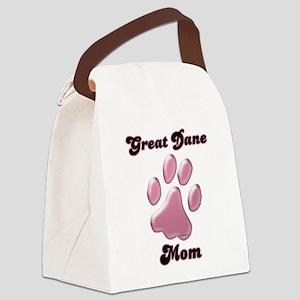 GreatDaneMomblkpnk Canvas Lunch Bag