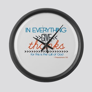 In Everything Give Thanks Large Wall Clock