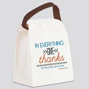 In Everything Give Thanks Canvas Lunch Bag