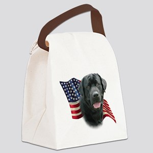 Black Lab Flag Canvas Lunch Bag