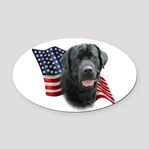 Black Lab Flag Oval Car Magnet