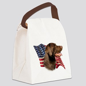 LabradorChocolateFlag Canvas Lunch Bag