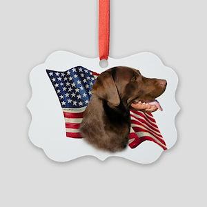 LabradorChocolateFlag Picture Ornament