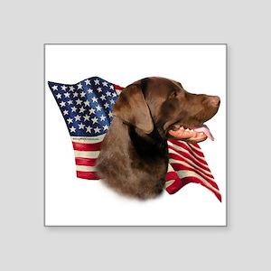 """LabradorChocolateFlag Square Sticker 3"""" x"""