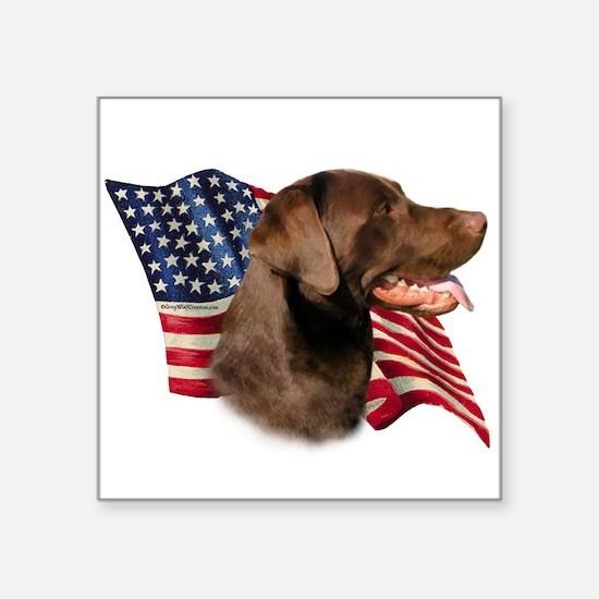 """LabradorChocolateFlag.png Square Sticker 3"""" x"""