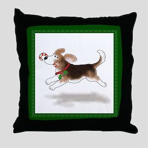 Holiday Beagle Throw Pillow