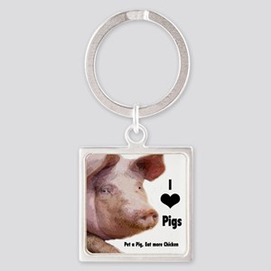 I Love Pigs Keychains