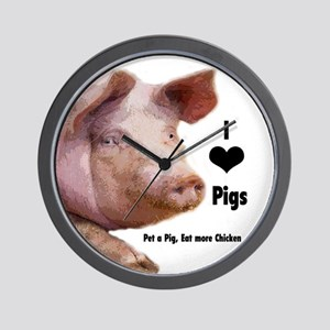 I Love Pigs Wall Clock