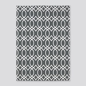 Gray and White Ogee Pattern 5'x7'Area Rug