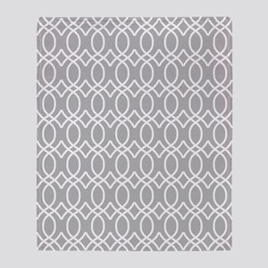 Light Gray and White Ogee Pattern Throw Blanket