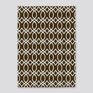 Brown and White Ogee Pattern 5'x7'Area Rug
