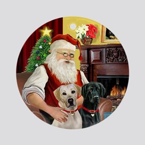 Santa's Yellow + Black Labs Ornament (Round)