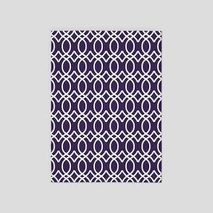 Dark Purple Ogee Pattern 5'x7'Area Rug