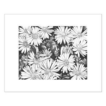 Flowers & Honey Bee Sketch Fine Art Print