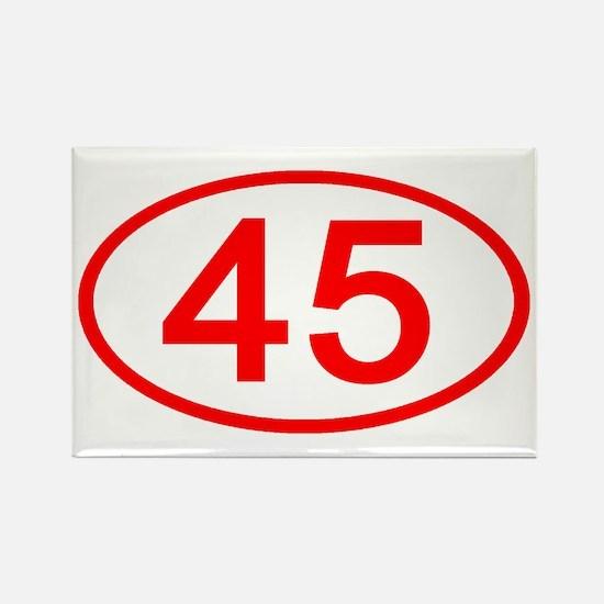 Number 45 Oval Rectangle Magnet
