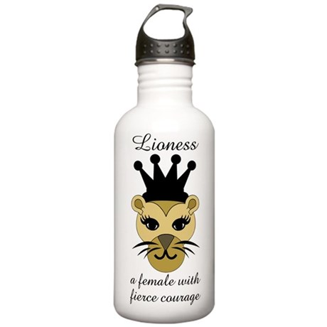 Lioness: a female with fierce courage Water Bottle