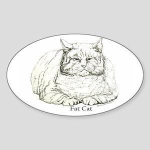 Fat Cat Oval Sticker