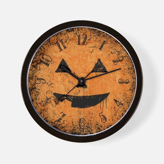 Grungy Pumpkin Face Wall Clock