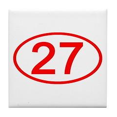 Number 27 Oval Tile Coaster