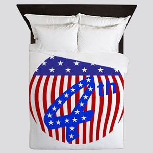 Red white and blue 4th of July flag Queen Duvet