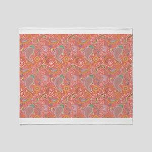 Peachy Paisley Throw Blanket