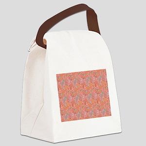 Peachy Paisley Canvas Lunch Bag