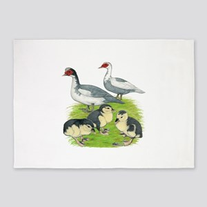 Muscovy Duck Blue Pied Family 5'x7'Area Rug