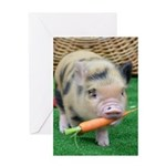 Micro pig with carrot Greeting Card