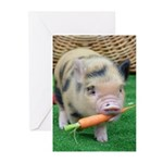 Micro pig with carrot Greeting Cards (Pk of 10)