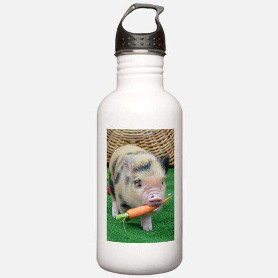 Micro pig with carrot Sports Water Bottle